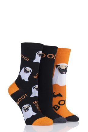 Ladies 3 Pair SockShop Wild Feet Ghost Pug Cotton Socks