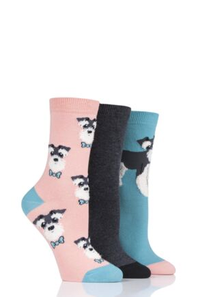 Ladies 3 Pair SockShop Wild Feet Schnauzer Cotton Socks