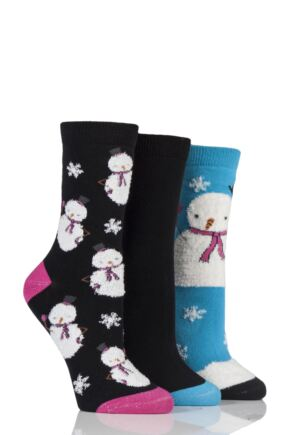 Ladies 3 Pair SockShop Wild Feet Christmas Inspired Patterned Socks