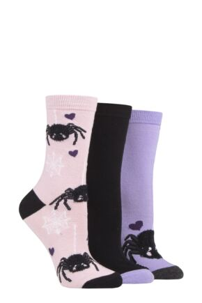 Ladies 3 Pair SOCKSHOP Wild Feet Spiders Socks