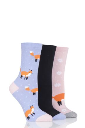 Ladies 3 Pair SockShop Wild Feet Fox Novelty Cotton Socks