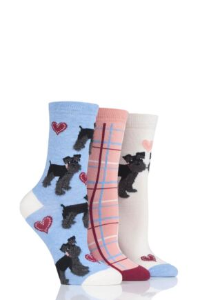 Ladies 3 Pair SockShop Wild Feet Black Schnauzer Cotton Socks