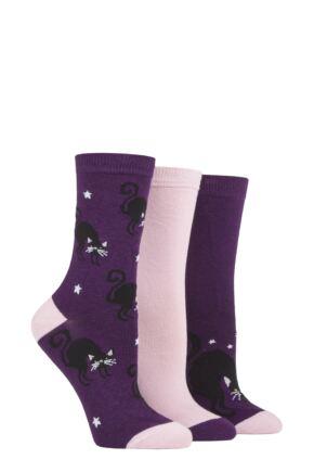 Ladies 3 Pair SOCKSHOP Wild Feet Halloween Cat Socks