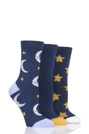 Ladies 3 Pair SOCKSHOP Wild Feet Moon and Stars Novelty Cotton Socks