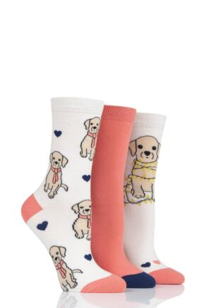 Ladies 3 Pair SockShop Wild Feet Puppy Lights Cotton Socks
