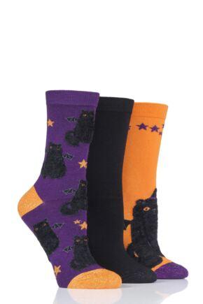 Ladies 3 Pair SockShop Wild Feet Halloween Cat Novelty Cotton Socks