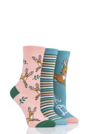 Ladies 3 Pair SockShop Wild Feet Oh Deer Cotton Socks