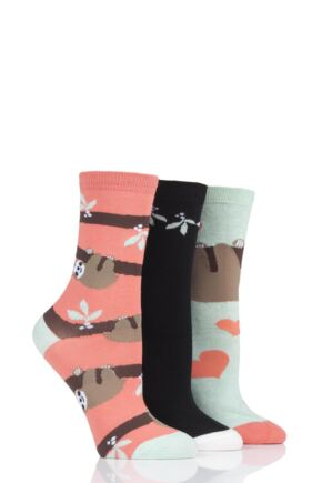 Ladies 3 Pair SockShop Wild Feet Sloth-Mas Cotton Socks