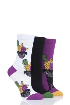 Ladies 3 Pair SOCKSHOP Wild Feet Pug Socks