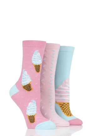 Ladies 3 Pair SockShop Wild Feet Ice Cream Cotton Socks