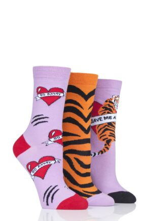 Ladies 3 Pair SOCKSHOP Wild Feet Go Away Cotton Socks