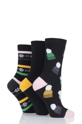Ladies 3 Pair SOCKSHOP Wild Feet Bobble Hats Novelty Cotton Socks