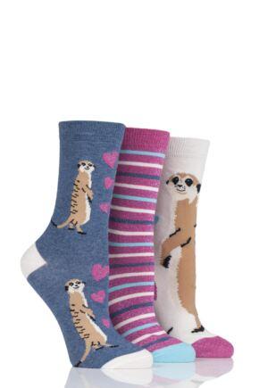 Ladies 3 Pair SockShop Wild Feet Animal Inspired Patterned Socks