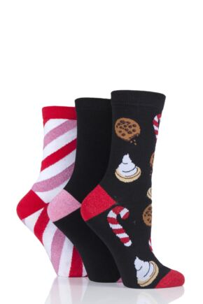 Ladies 3 Pair SockShop Wild Feet Sweets Novelty Cotton Socks