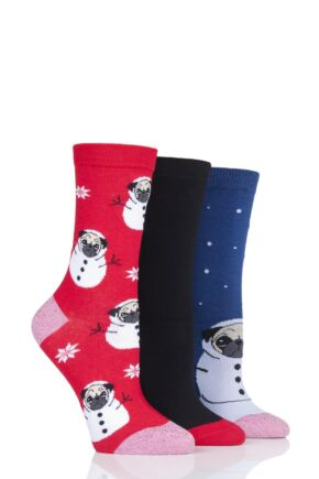 Ladies 3 Pair SockShop Wild Feet Snow Pug Novelty Cotton Socks