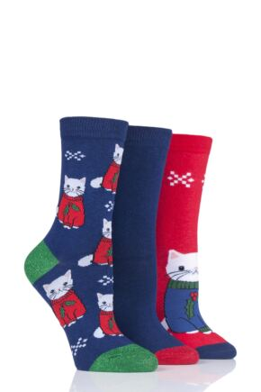 Ladies 3 Pair SockShop Wild Feet Cat in Xmas Jumper Novelty Cotton Socks