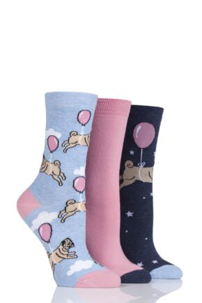 Ladies 3 Pair SockShop Wild Feet Balloon Pug Cotton Socks