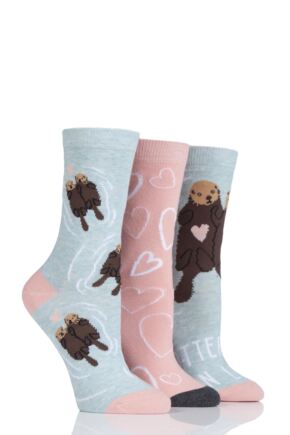 Ladies 3 Pair SockShop Wild Feet Otter-ly In Love Cotton Socks
