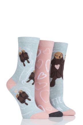 Ladies 3 Pair SockShop Wild Feet Otter-ly In Love Cotton Socks