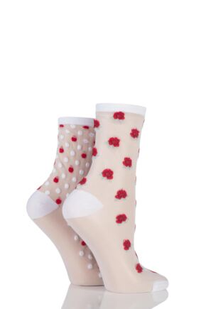 Ladies 2 Pair SockShop Shimmer Rose and Spotty Sheer Pop Socks White 4-8