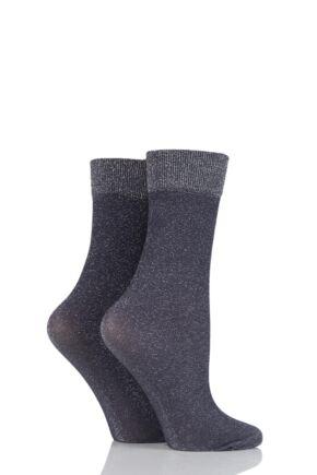 Ladies 2 Pair SockShop Fashion Collection Plain Lurex Socks