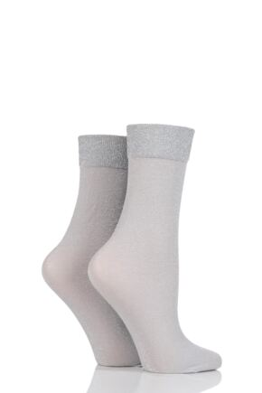 Ladies 2 Pair SockShop Fashion Collection Plain Lurex Socks Stone 4-8
