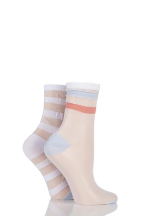 Ladies 2 Pair SockShop Shimmer Striped Sheer Pop Socks White 4-8