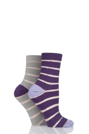 Ladies 2 Pair SockShop Fashion Collection Quilted Mesh Stripe Socks Purples 4-8