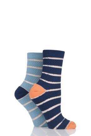 Ladies 2 Pair SockShop Fashion Collection Quilted Mesh Stripe Socks