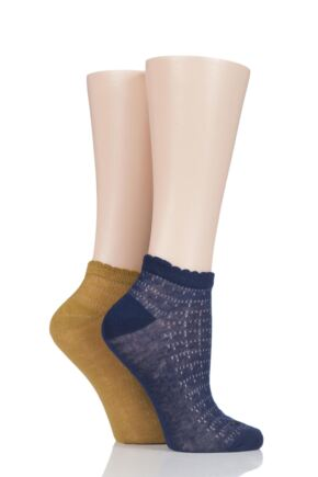 Ladies 2 Pair SockShop Fashion Collection Delicate Scallop Top Socks