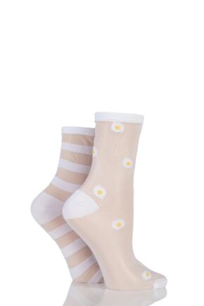 Ladies 2 Pair SockShop Shimmer Daisy and Striped Sheer Pop Socks White 4-8