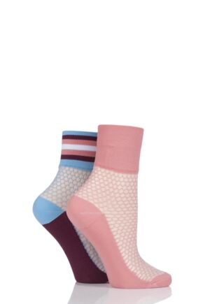 Ladies 2 Pair SockShop Fashion Collection Fishnet Mesh Socks