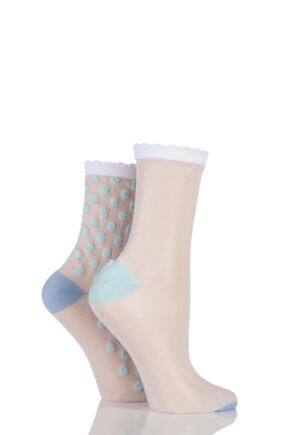 Ladies 2 Pair SockShop Shimmer Plain and Spotty Sheer Pop Socks White 4-8