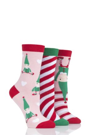 Ladies 3 Pair SOCKSHOP Wild Feet Elves Cotton Socks