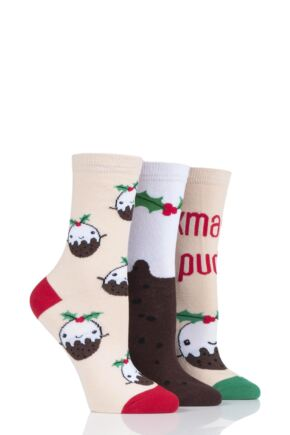 Ladies 3 Pair SOCKSHOP Wild Feet Xmas Pudding Cotton Socks