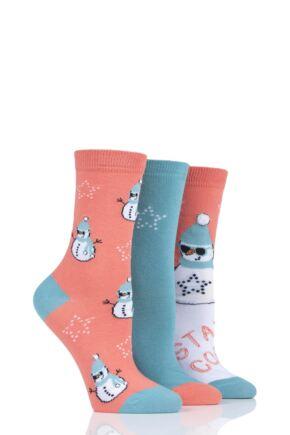 Ladies 3 Pair SOCKSHOP Wild Feet Snowman Cotton Socks