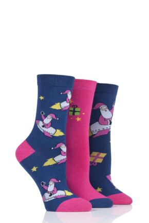 Ladies 3 Pair SOCKSHOP Wild Feet Santa Cotton Socks