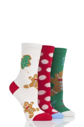 Ladies 3 Pair SockShop Wild Feet Gingerbread Cotton Socks