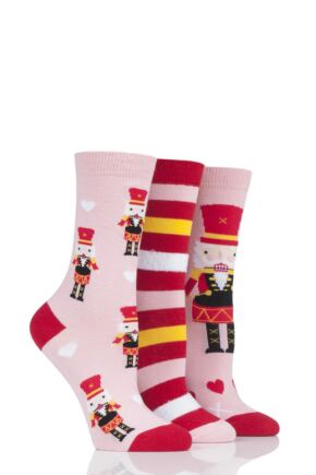 Ladies 3 Pair SOCKSHOP Wild Feet Nutcracker Cotton Socks