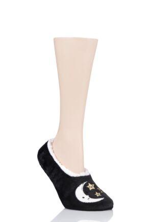 Ladies 1 Pair SOCKSHOP Wild Feet Fleece Lined Fluffy 3D Slippers