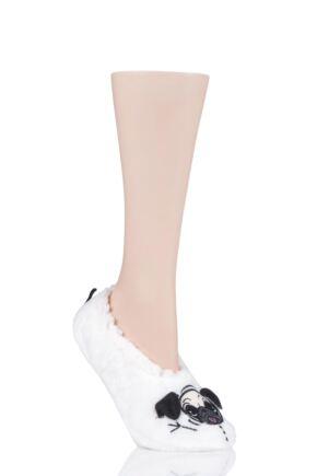 Ladies 1 Pair SockShop Wild Feet Fleece Lined Fluffy 3D Slippers Snowman Pug 4-8 Ladies
