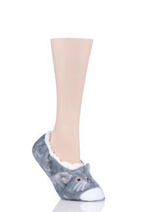 Ladies 1 Pair SockShop Wild Feet Fleece Lined Fluffy 3D Slippers Cat 4-8 Ladies