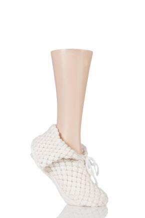 Ladies 1 Pair SockShop SnugSoles Bootie Slippers with Grip Snow 4-8 Ladies