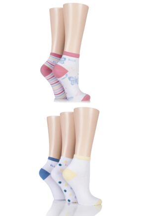 Ladies 5 Pair Elle Natural Cotton Butterfly Ankle Socks with Handlinked Toe Seam White 4-8