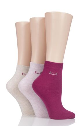 Ladies 3 Pair Elle Plain Comfort Cuff Cotton Ankle Socks with Hand Linked Toes