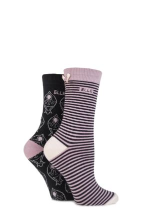 Ladies 2 Pair Elle Patterned Socks Decorated With Buttons and Bows