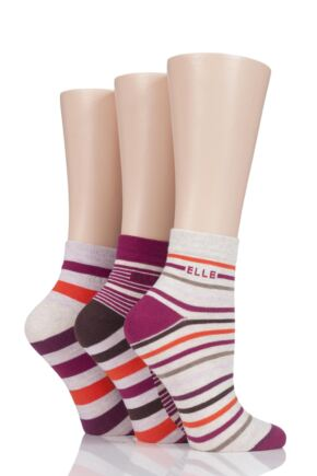 Ladies 3 Pair Elle Plain, Striped and Patterned Cotton Anklets with Hand Linked Toes