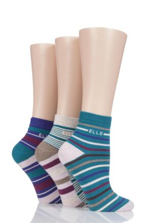 Ladies 3 Pair Elle Striped Cotton Anklets