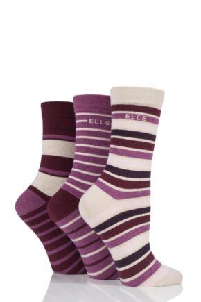 Ladies 3 Pair Elle Striped Cotton Socks