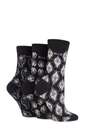 Ladies 3 Pair Elle Patterned Cotton Socks